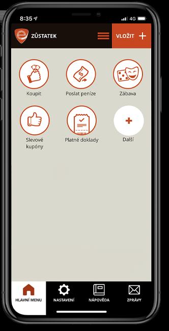 Náhledová obrazovka aplikace Sejf